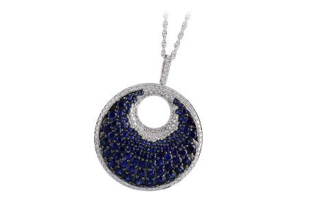 14KT White Gold Diamond Sapphire Circle Necklace