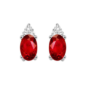10KT White Gold Birthstone Earrings - Garnet - January
