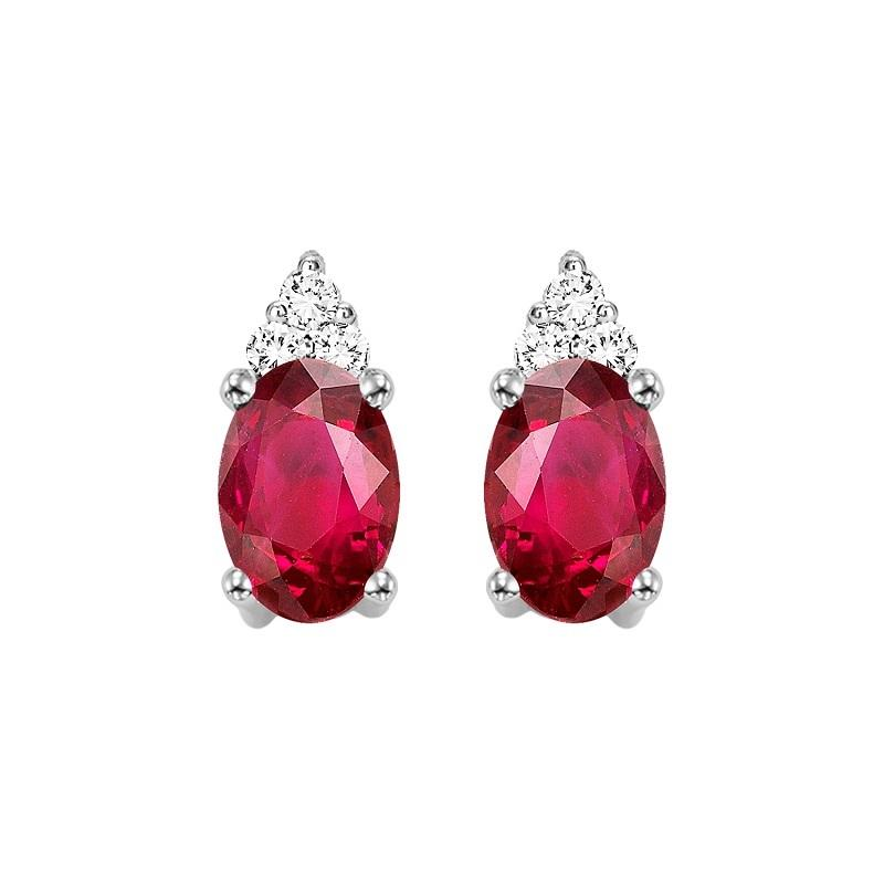 10KT White Gold Birthstone Earrings - Ruby - July