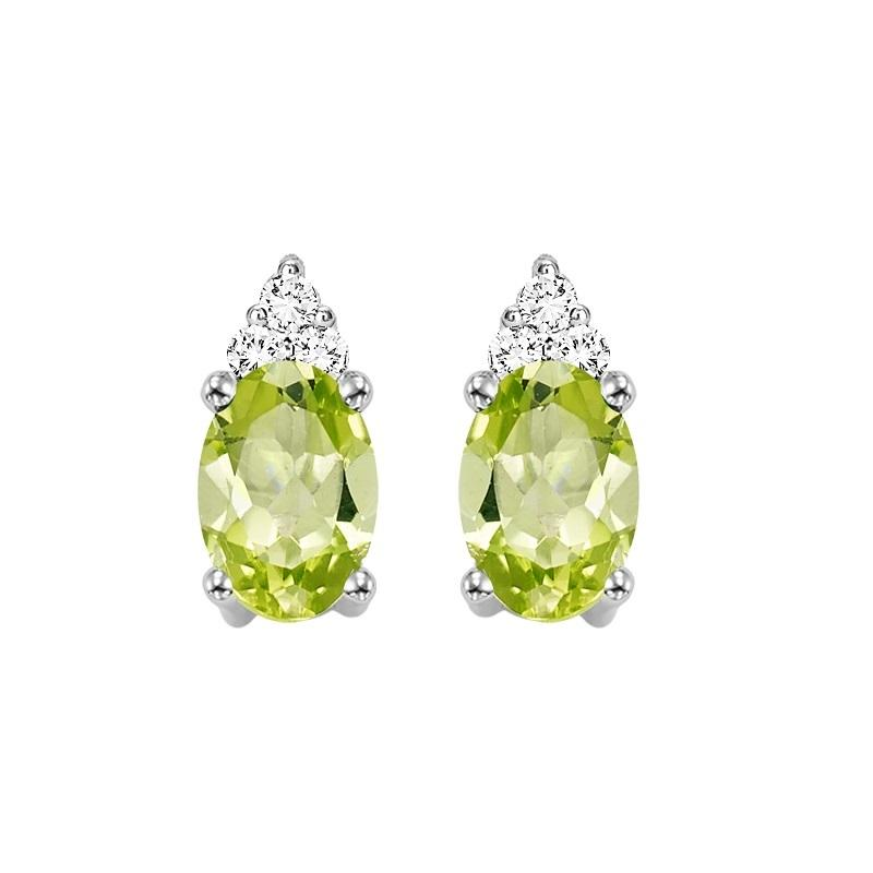 10KT White Gold Birthstone Earrings - Peridot - August