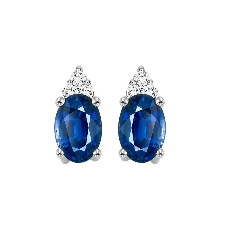 10KT White Gold Birthstone Earrings - Sapphire - September