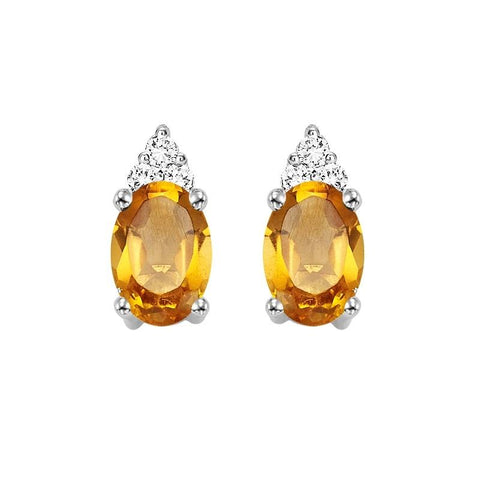 10KT White Gold Birthstone Earrings - Citrine - November