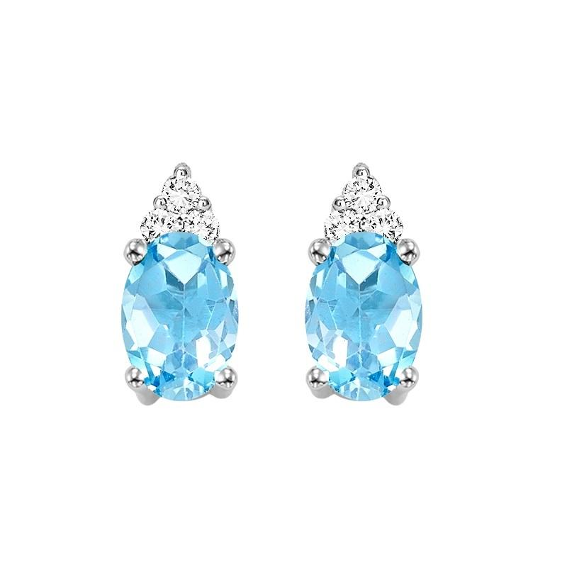 10KT White Gold Birthstone Earrings - Blue Topaz - December