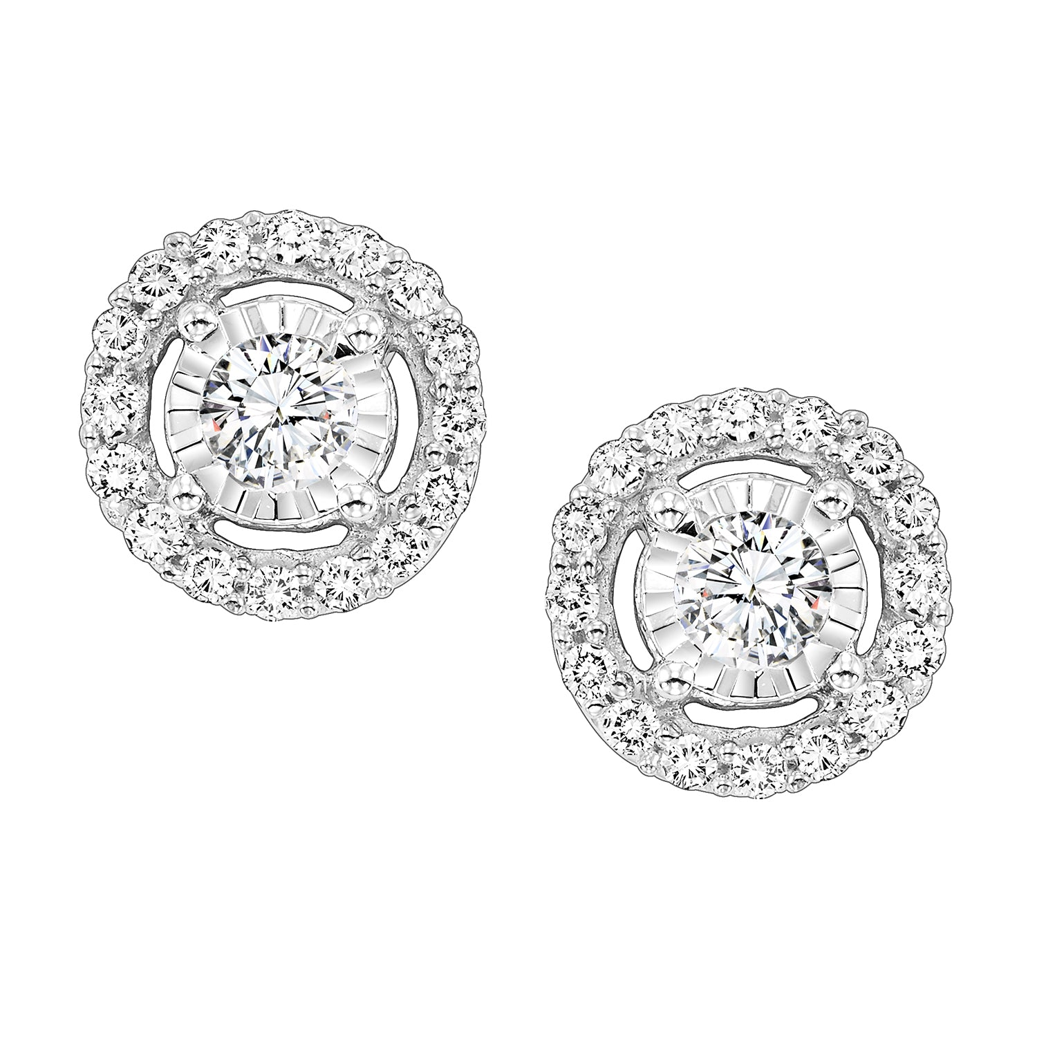 14K White Gold Diamond Earrings 1/2 ct