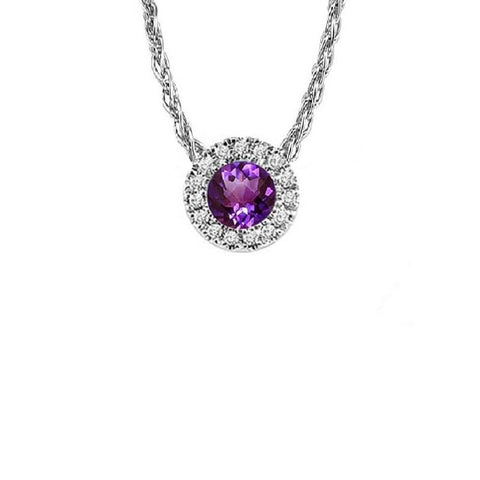 14KT White Gold Mixable Pendant - Amethyst - February