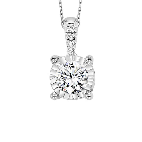 14K White Gold Diamond Pendant 1/10 ct