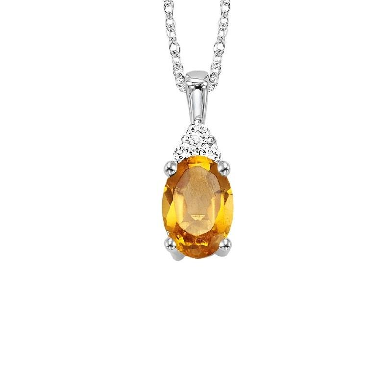 10KT White Gold Birthstone Pendant - Citrine - November