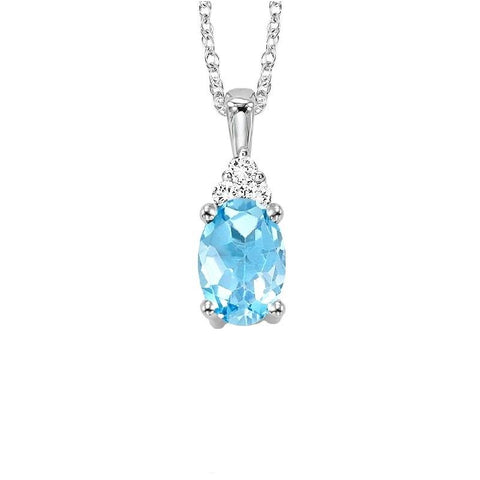 10KT White Gold Birthstone Pendant - Blue Topaz - December