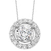 14K White Gold Diamond Pendant 3/4 ct