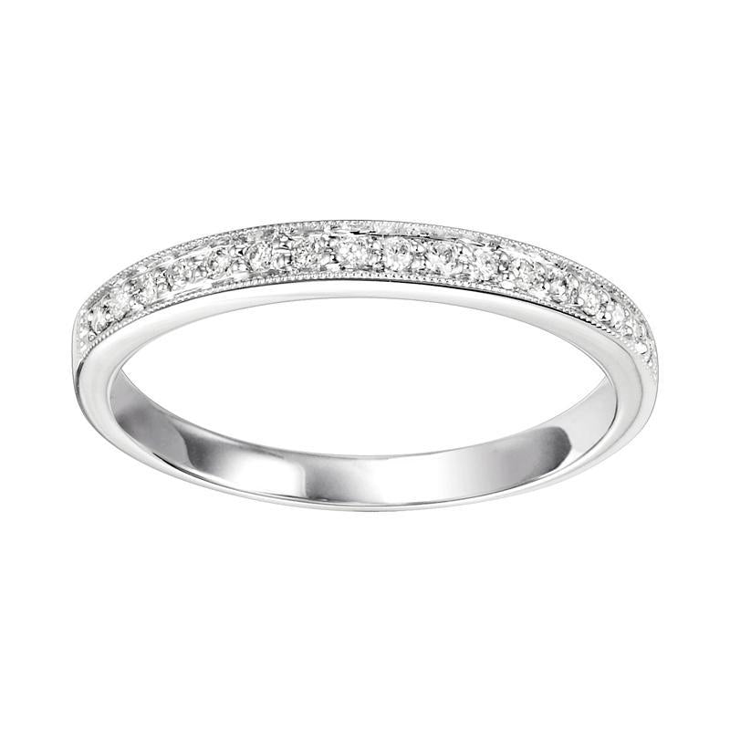 10K White Gold Diamond Stackable Ring - 1/8 ct.