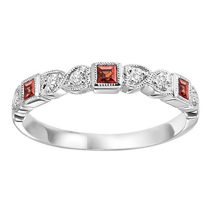 14K White Gold Garnet & Diamond Stackable Ring