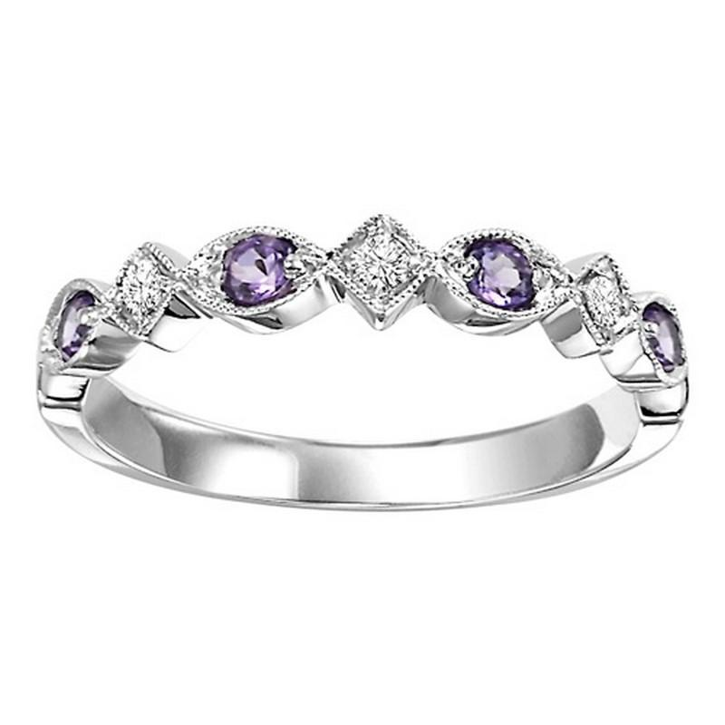 14K White Gold Synthetic Alexandrite & Diamond Stackable Ring