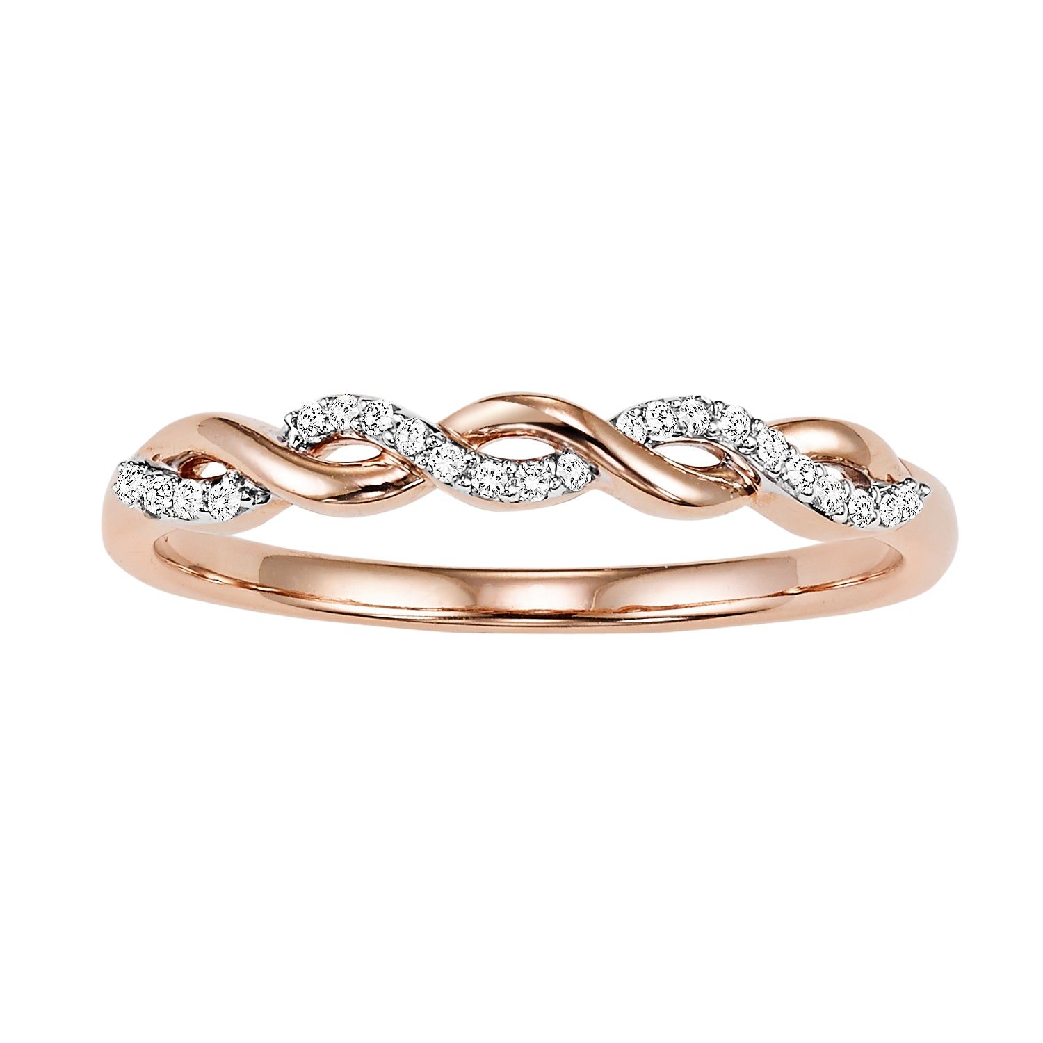 14K Rose Gold Interlocking Diamond Ring - 1/20 ct.