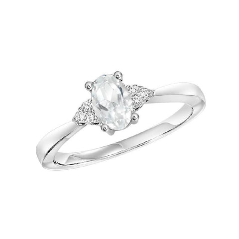 10KT White Gold Birthstone Ring - White Topaz - April