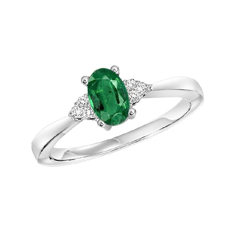 10KT White Gold Birthstone Ring - Emerald - May