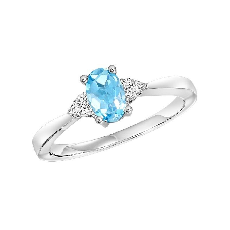 10KT White Gold Birthstone Ring - Blue Topaz - December