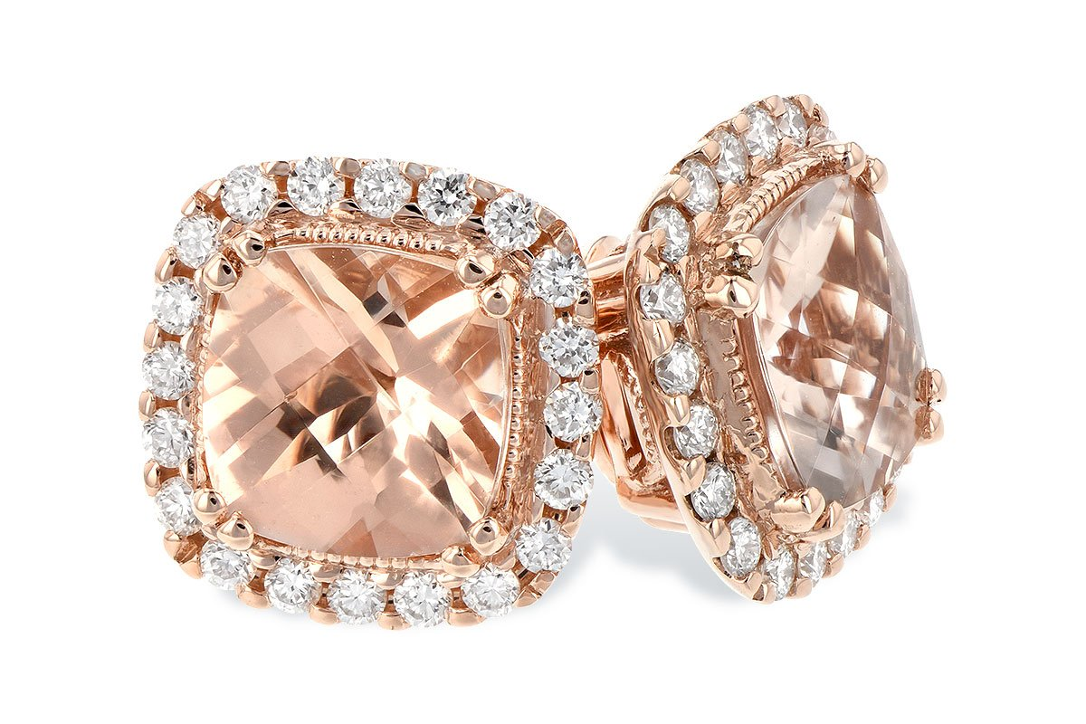 14kt Morganite Diamond Earrings Cushion Cut