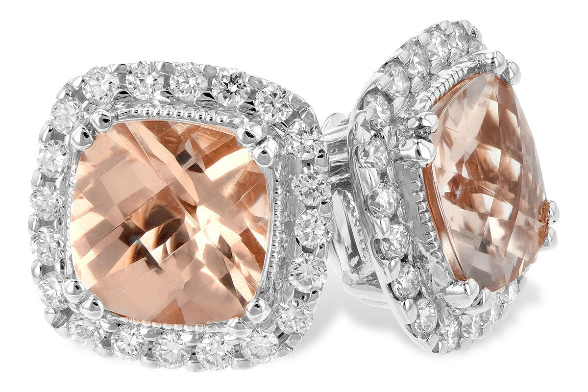 14kt White Gold Diamond Morganite Earrings