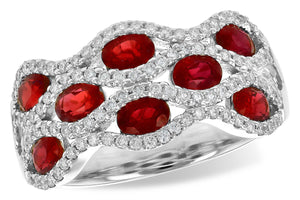14KT Gold Ladies Diamond Ruby Band