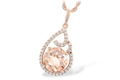 14kt Allison Kaufman Morganite Diamond Pendant