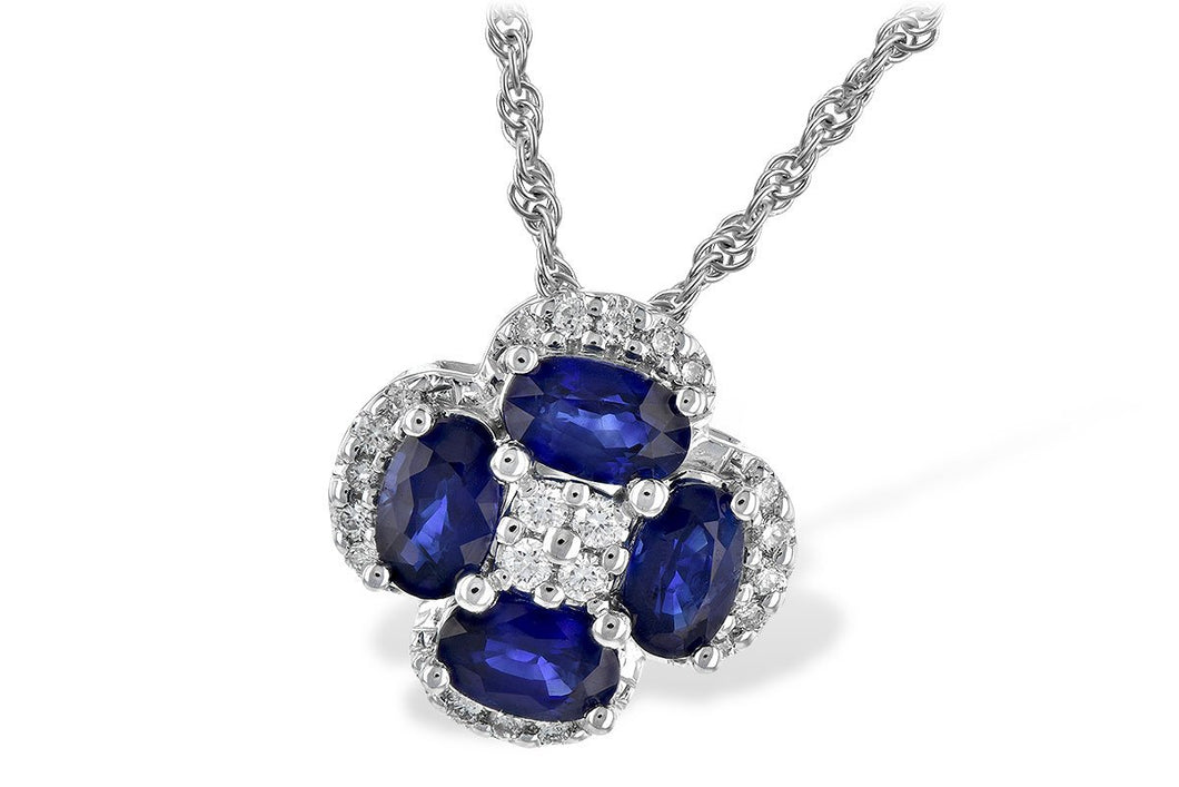 14K White Gold Sapphire Diamond Necklace