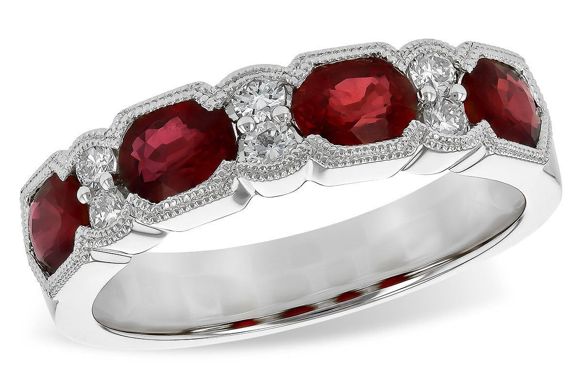 14KT Gold Ladies Ruby Diamond Wedding Ring