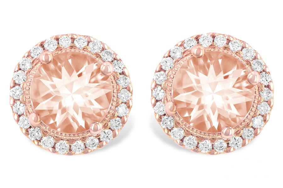 14KT ROSEGOLD DIAMOND EARRINGS WITH HALO