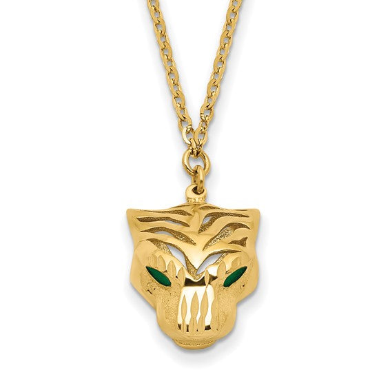 14k Gold Green Enamel Tiger Necklace