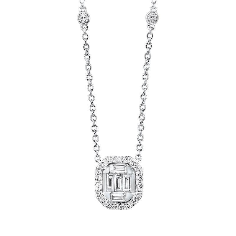 14K White Gold Halo Baguette Diamond Necklace 1/2 ct