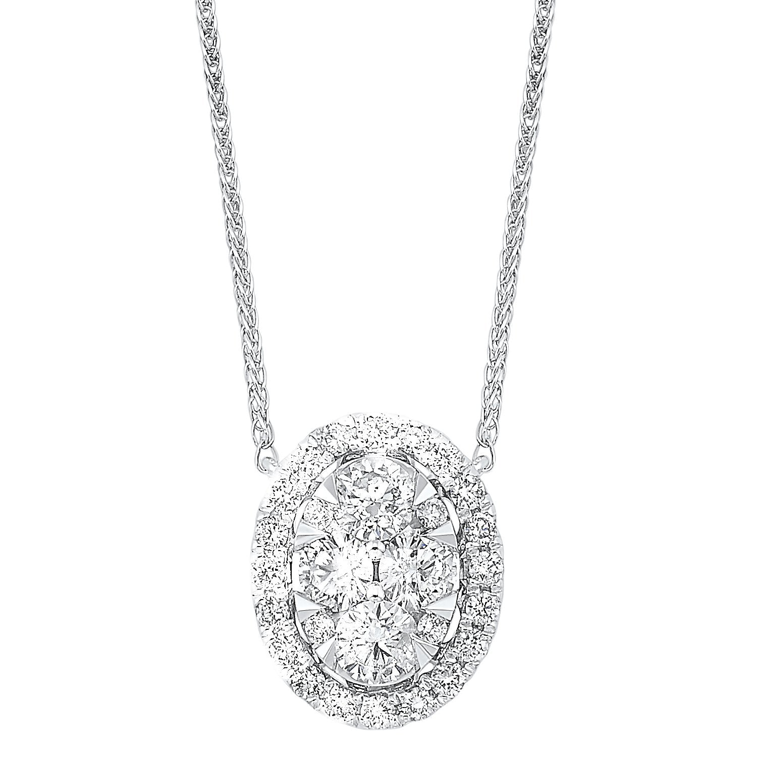 14K Diamond Oval Pendant 1/2 ctw