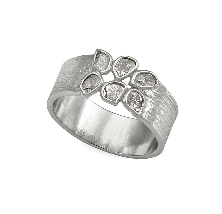 Jorge Revilla Sterling Silver & 18k Finish Diamond Ring