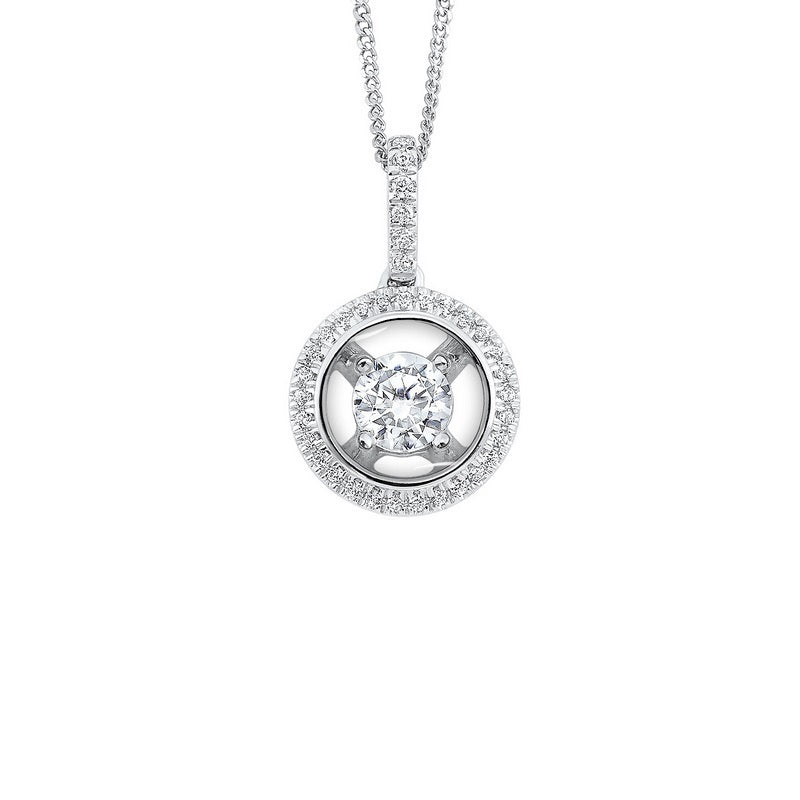 14K White Gold Diamond Pendant 1/3 ct