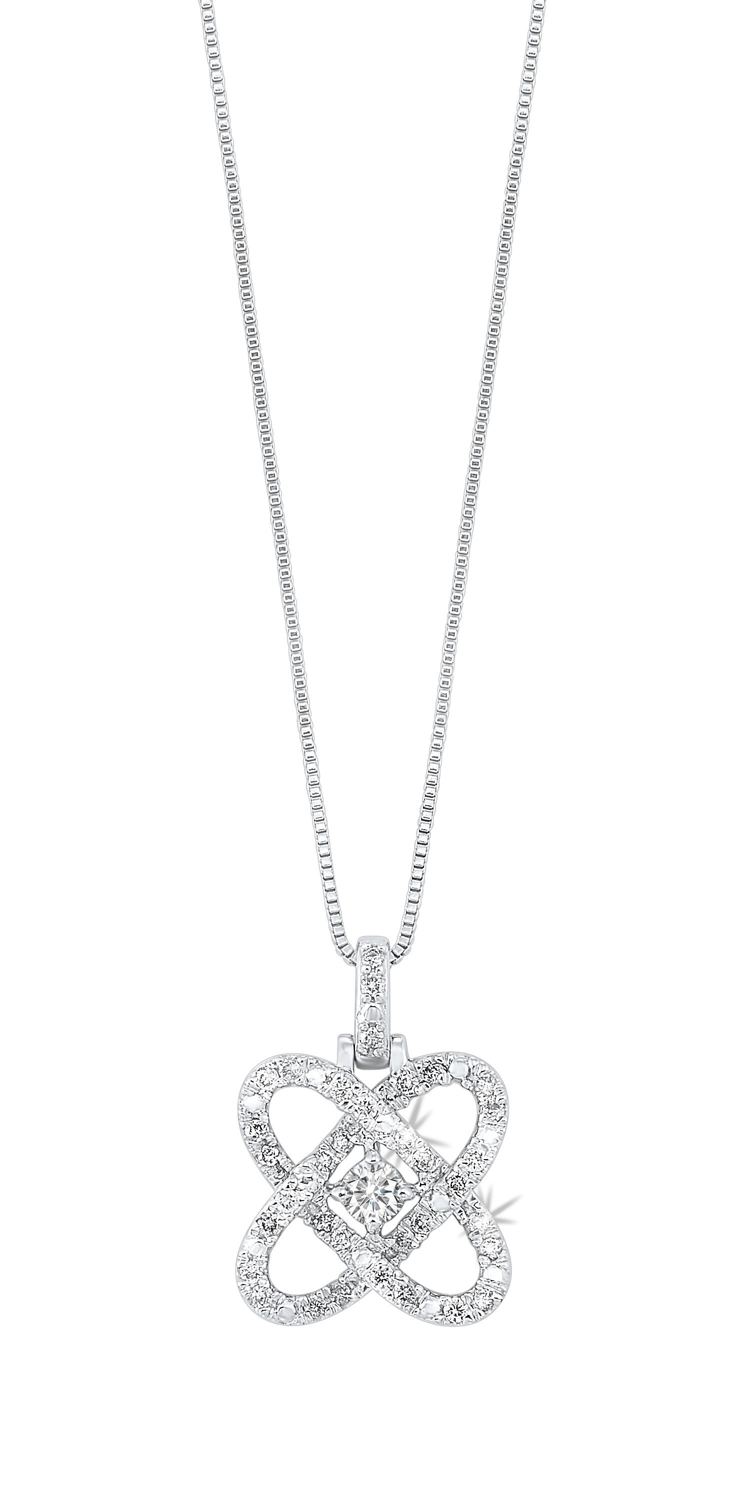 Sterling Silver LOVE'S CROSSING DIAMOND PENDANT 1/4CTW