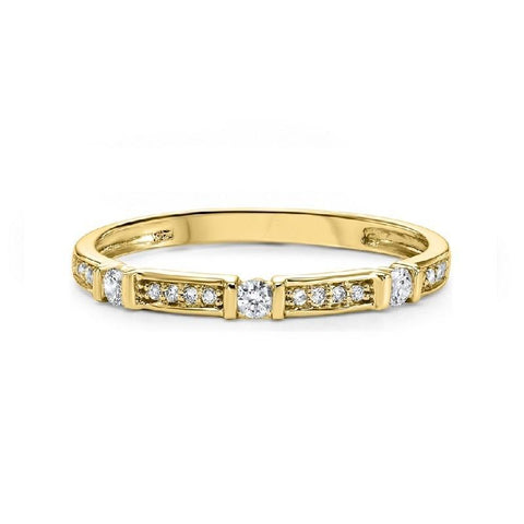 14K Yellow Gold Diamond Mixable Ring 1/6 ct
