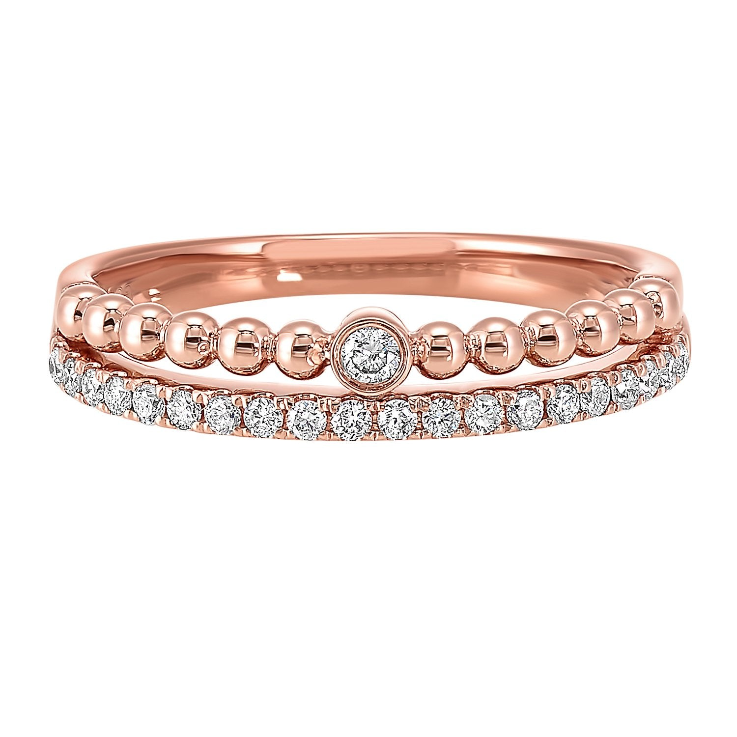 14K Diamond Stackable Ring 1/8 ctw