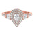14K Diamond Pear Shape Ring 3/4ctw