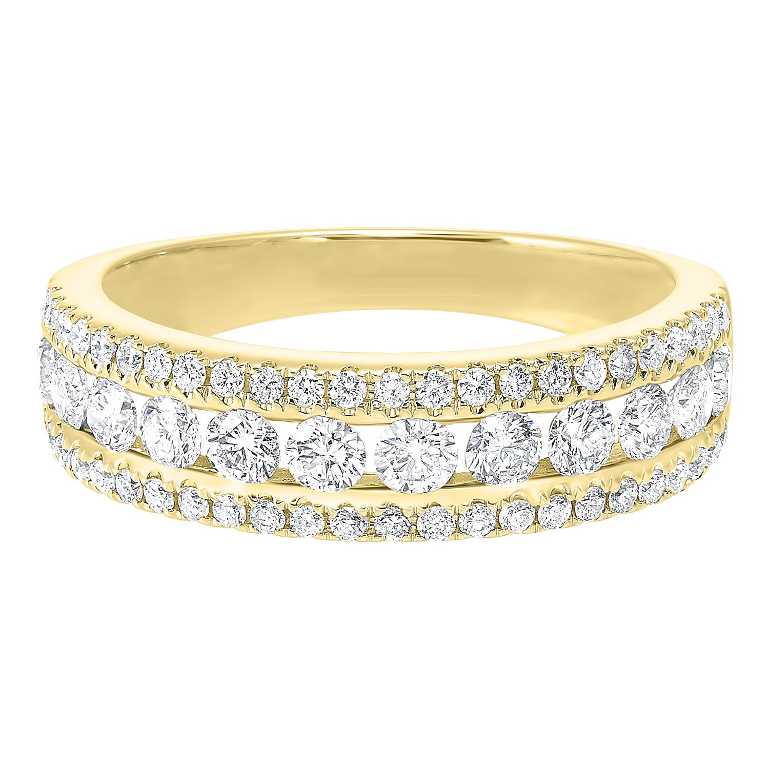 14k Yellow Gold Diamond Channel Band .50ctw
