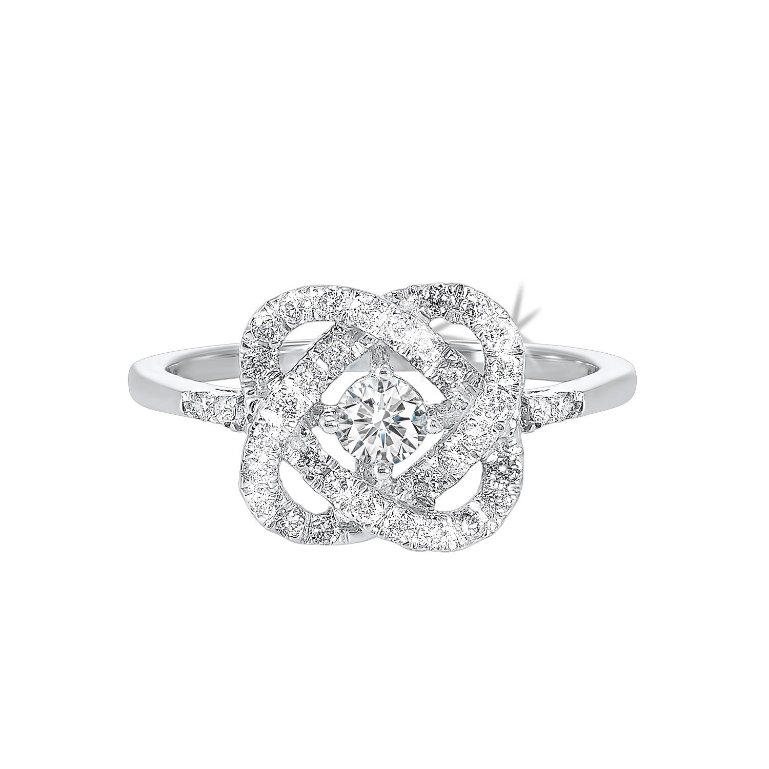 14k White Gold Diamond Ring LOVES CROSSING COLLECTION