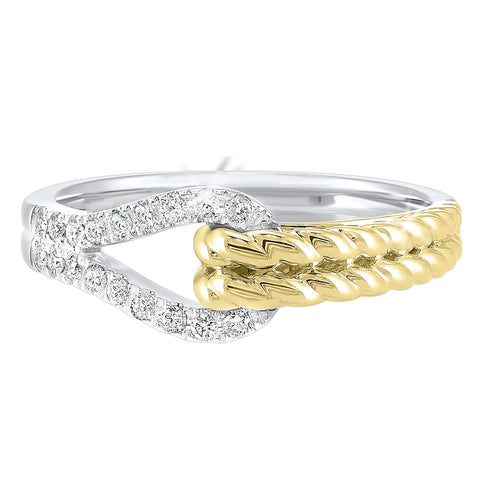 14k two tone diamond LOVES CROSSING Collection Diamond Ring