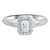 14K White 1/2ctw Emerald Cut Ring with 1/3 center