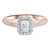 14K Two-Tone White/Rose 1/2ctw Emerald Cut Ring with 1/3 center