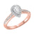 14K Two-Tone White/Rose 1/2ctw Pear Shape Ring with 1/3 center