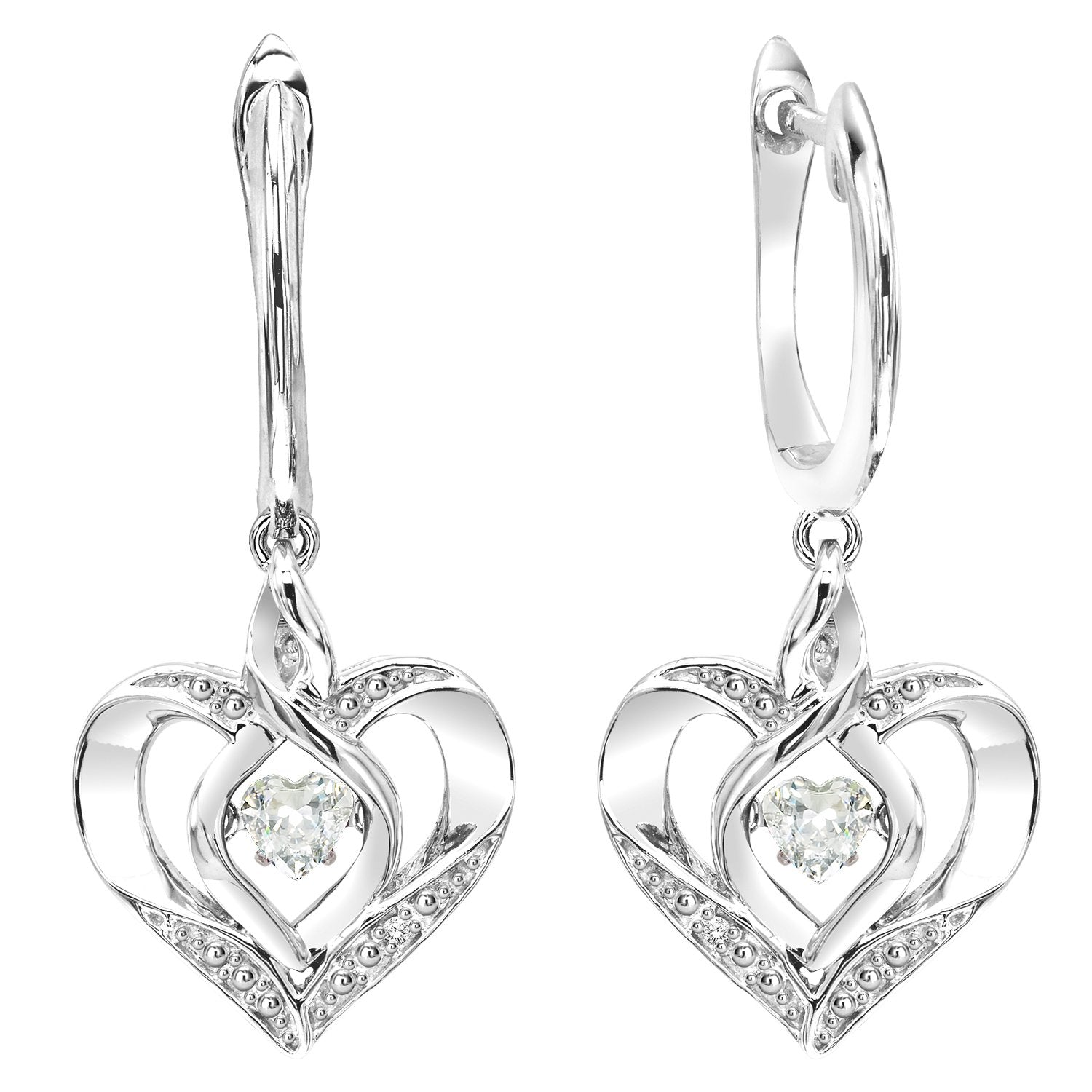 Silver Diamond & Created White Topaz Earrings
