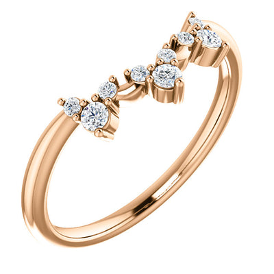 14K ROSE GOLD 1/6 CTW CONTOUR DIAMOND BAND