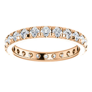 LDS 14K ROSE GOLD FRENCH SET ETERNITY BAND 1.00CTW