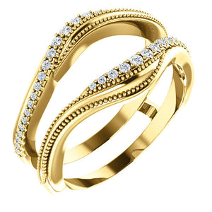 14K YELLOW GOLD DIAMOND RING GUARD 1/6CTW