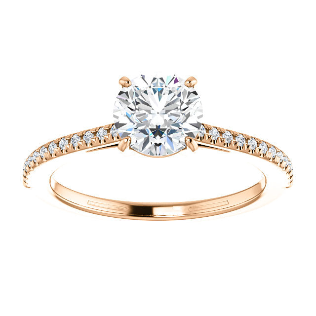 14k Rose Gold 6.5mm Moissanite  1/10 ctw Engagement Ring