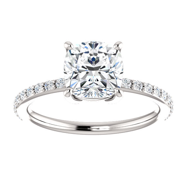 14k White Gold Moissanite Engagement Ring Cushion Cut