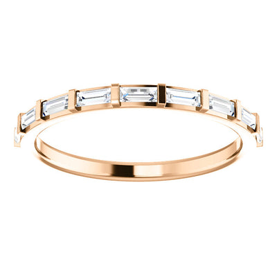 14K Rose 1/4 CTW Diamond Straight Baguette Anniversary Band