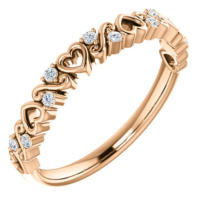 14K Rose .08 CTW Heart Diamond Anniversary Band